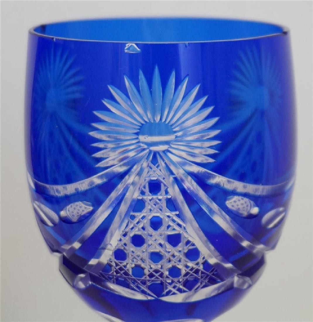 2PC COBALT BOHEMIAN CUT CRYSTAL GLASSES - 3
