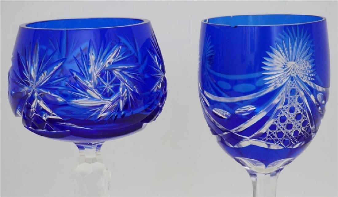 2PC COBALT BOHEMIAN CUT CRYSTAL GLASSES - 5