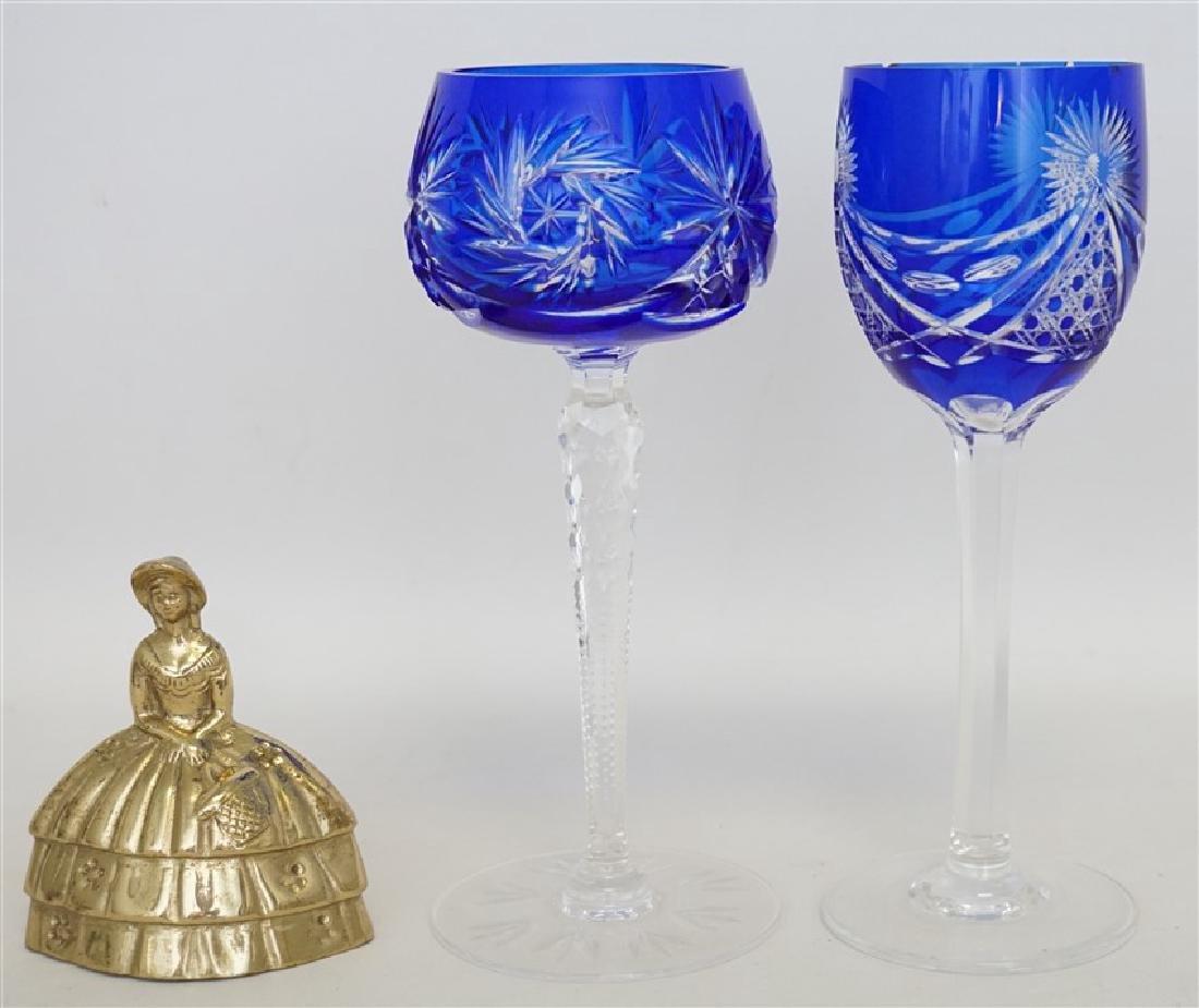 2PC COBALT BOHEMIAN CUT CRYSTAL GLASSES - 6