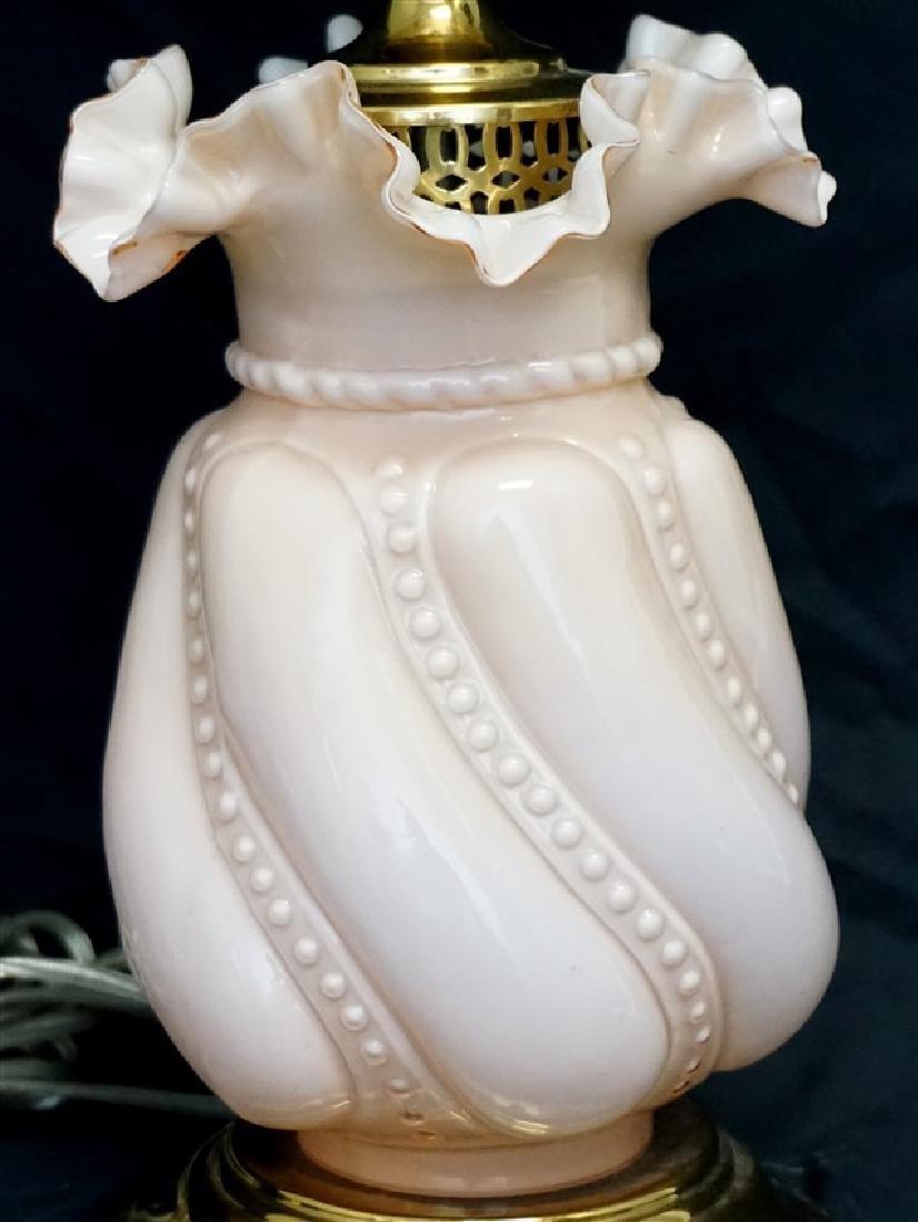 FENTON PINK CASED GLASS LAMP - 2