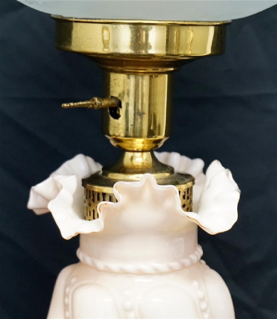 FENTON PINK CASED GLASS LAMP - 4