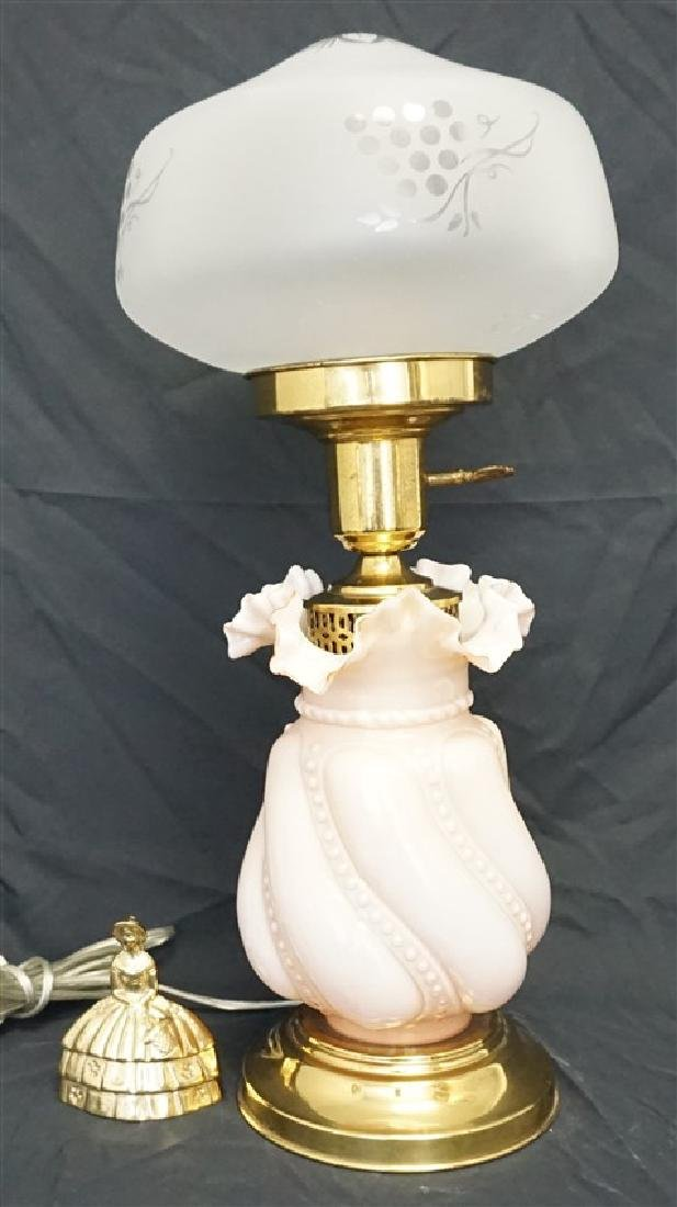 FENTON PINK CASED GLASS LAMP - 6