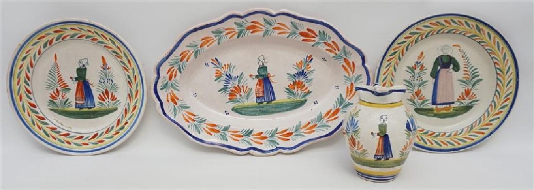 4 PC QUIMPER FRENCH FAIENCE