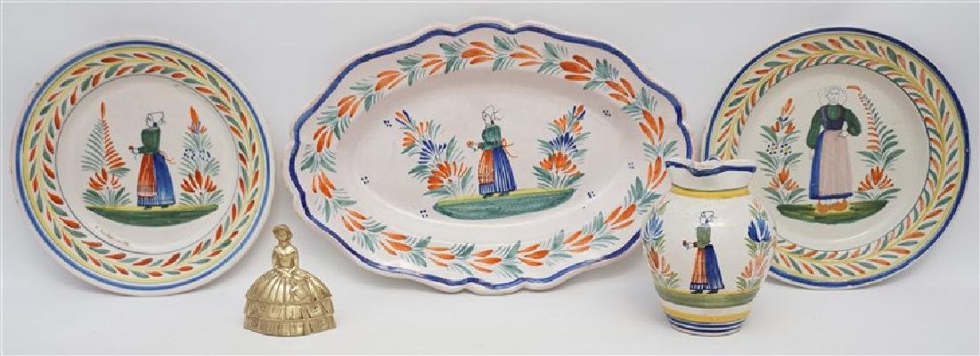 4 PC QUIMPER FRENCH FAIENCE - 5