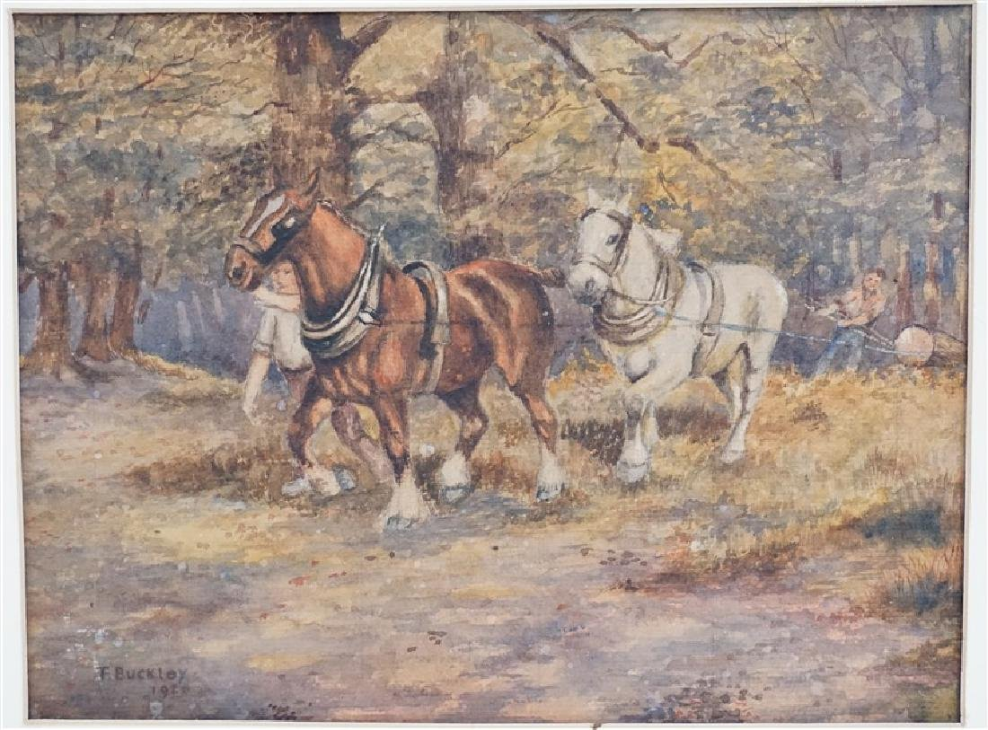 1920s WATERCOLOR T. BUCKLEY HORSES