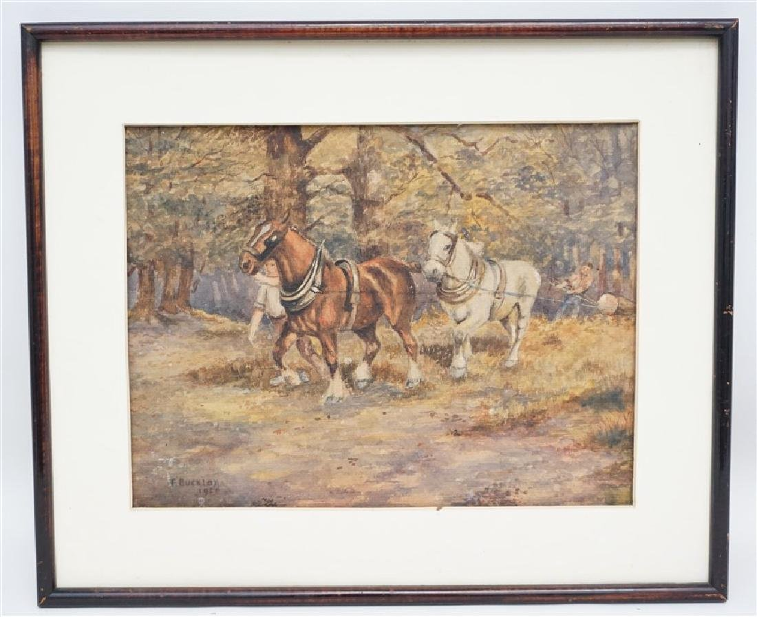 1920s WATERCOLOR T. BUCKLEY HORSES - 2