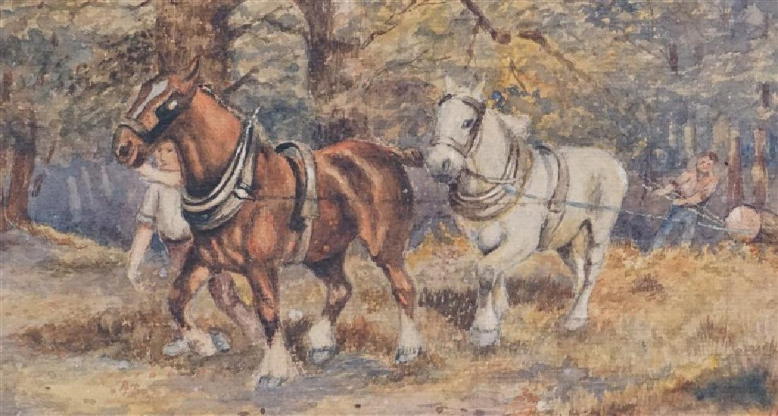 1920s WATERCOLOR T. BUCKLEY HORSES - 3