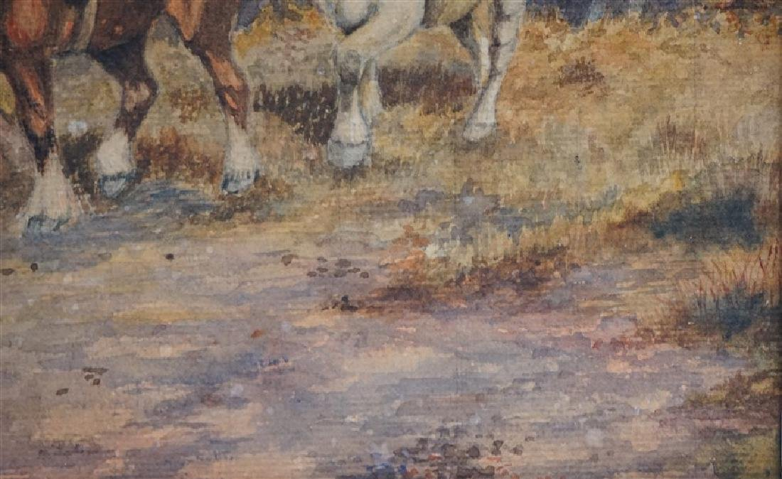 1920s WATERCOLOR T. BUCKLEY HORSES - 5
