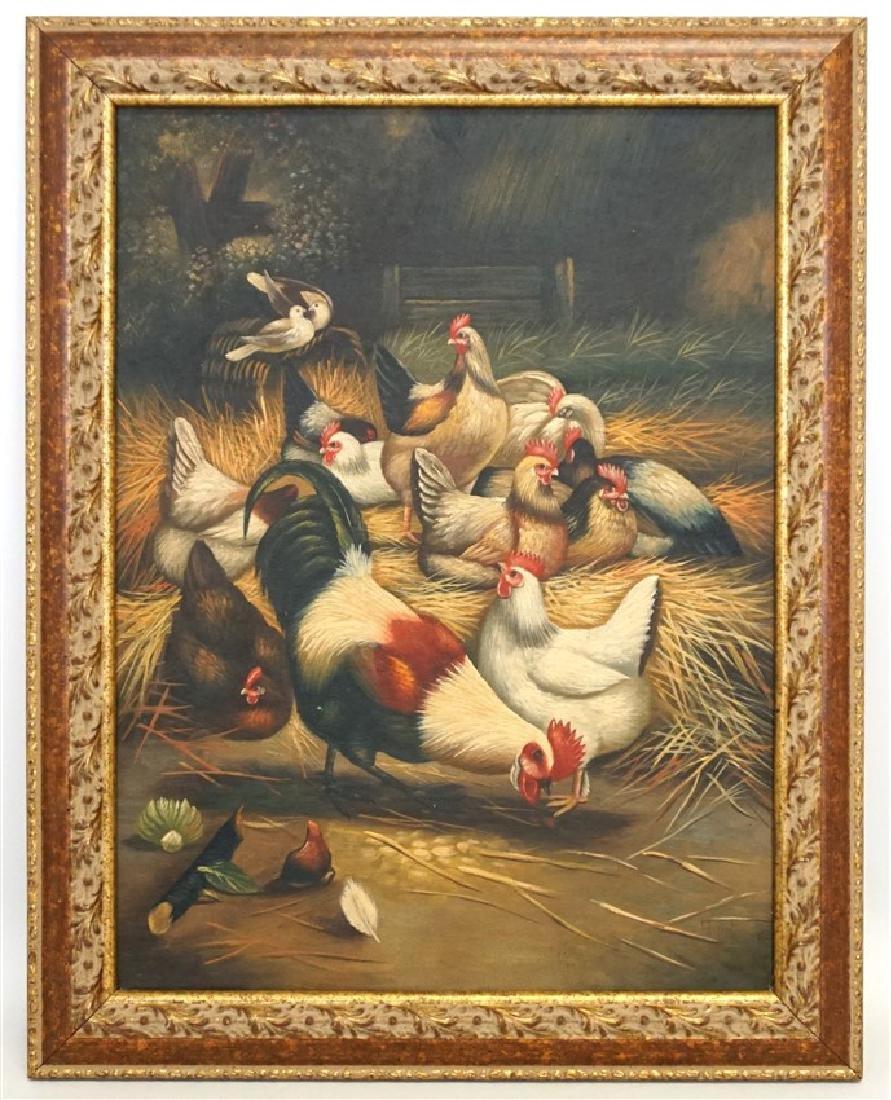 EDGAR HUNT (1876-1955) BARNYARD CHICKENS