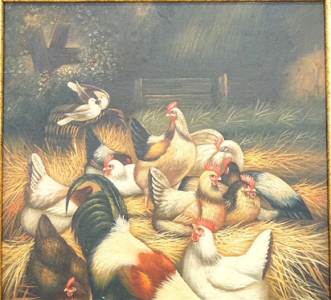 EDGAR HUNT (1876-1955) BARNYARD CHICKENS - 2