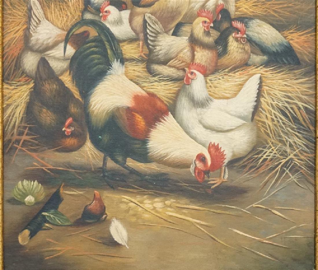 EDGAR HUNT (1876-1955) BARNYARD CHICKENS - 3