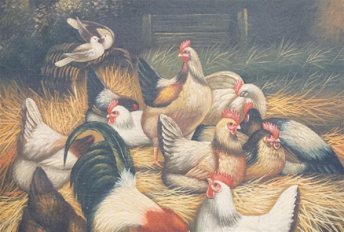 EDGAR HUNT (1876-1955) BARNYARD CHICKENS - 5