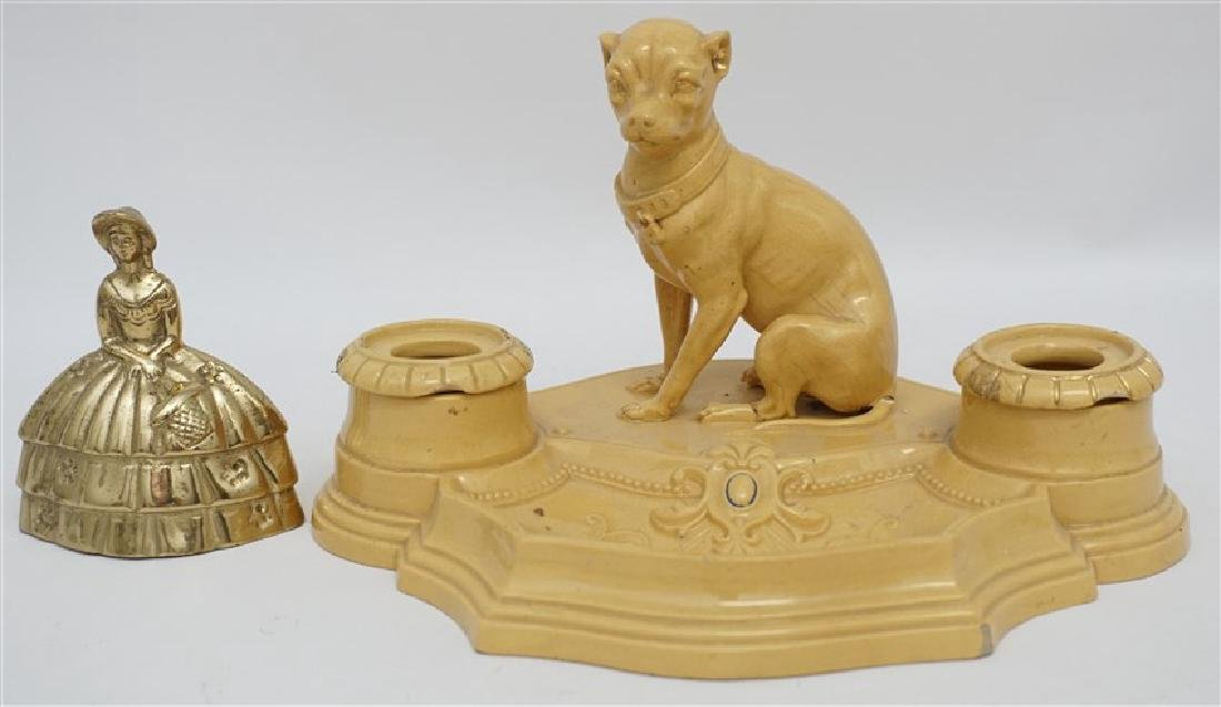 ANTIQUE FRENCH YELLOW WARE WHIPPET INKWELL - 13