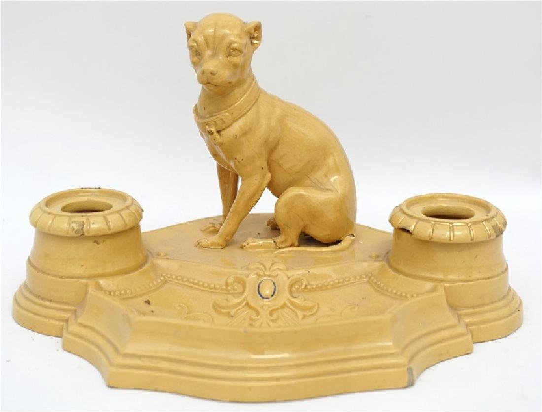 ANTIQUE FRENCH YELLOW WARE WHIPPET INKWELL