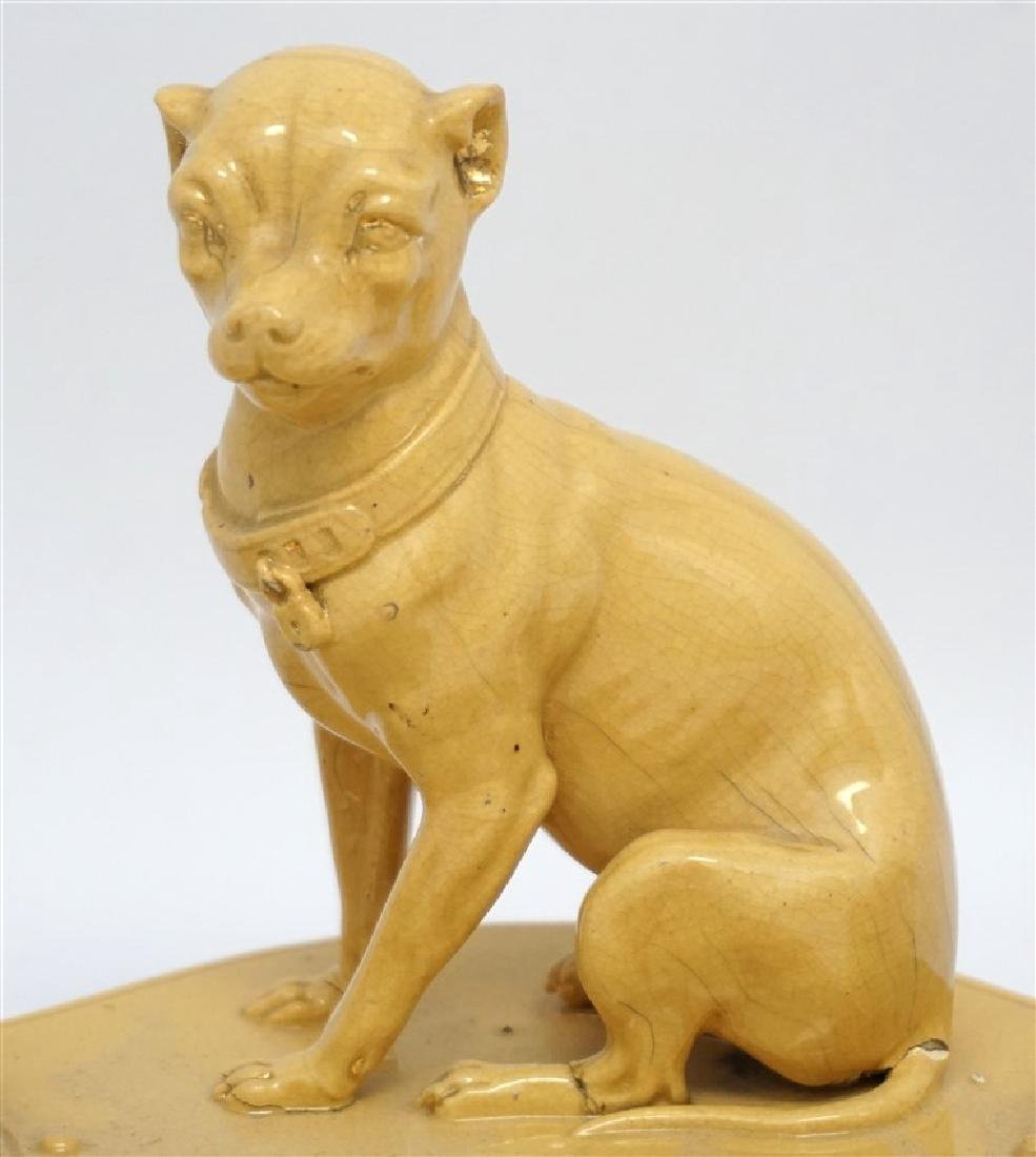 ANTIQUE FRENCH YELLOW WARE WHIPPET INKWELL - 2