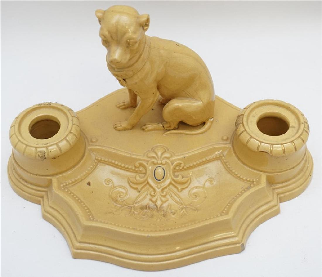ANTIQUE FRENCH YELLOW WARE WHIPPET INKWELL - 4