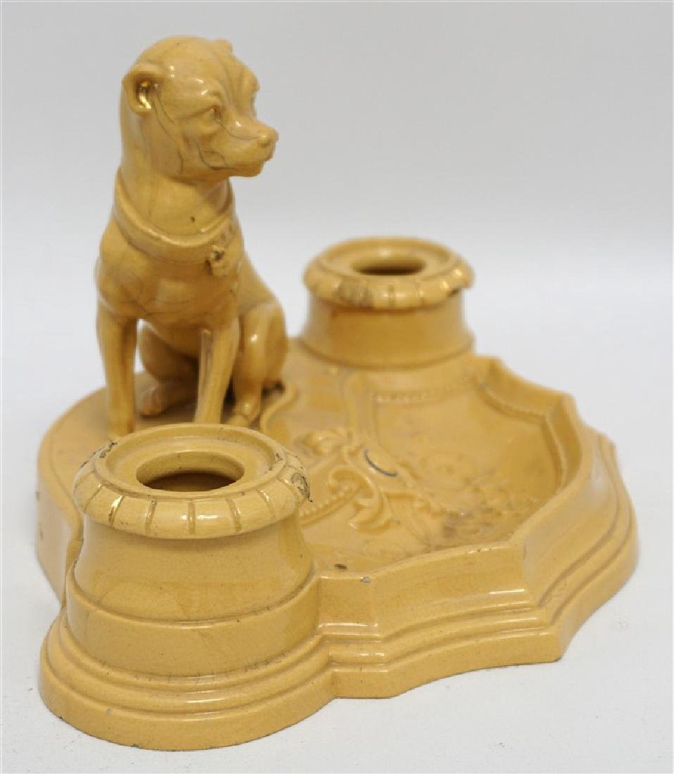 ANTIQUE FRENCH YELLOW WARE WHIPPET INKWELL - 5