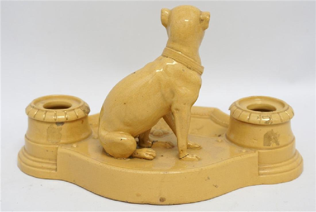 ANTIQUE FRENCH YELLOW WARE WHIPPET INKWELL - 6
