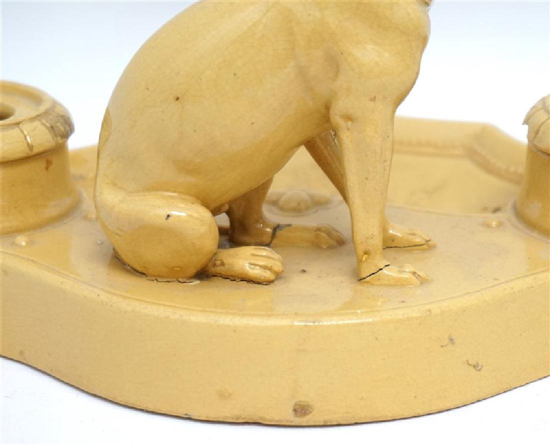 ANTIQUE FRENCH YELLOW WARE WHIPPET INKWELL - 7