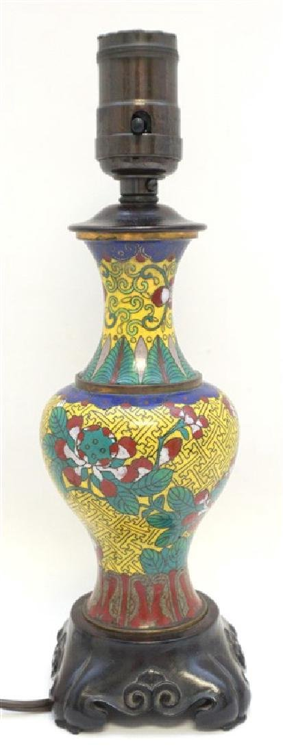 CHINESE CLOISONNE BRONZE LAMP