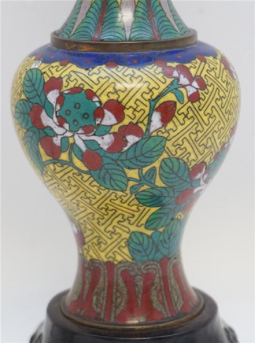 CHINESE CLOISONNE BRONZE LAMP - 2