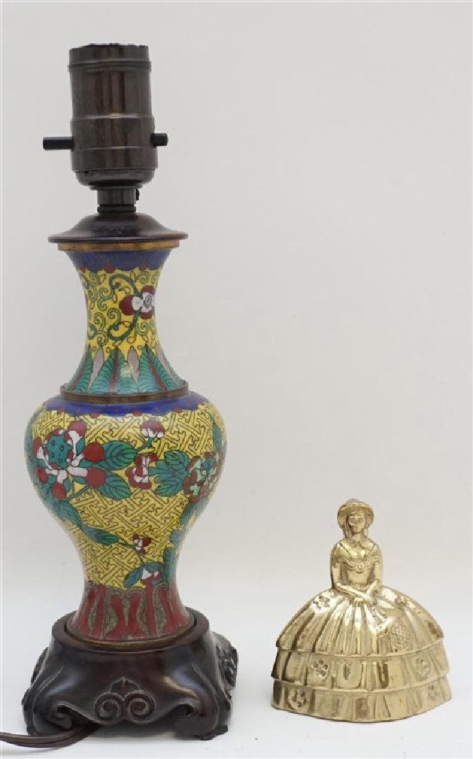 CHINESE CLOISONNE BRONZE LAMP - 8