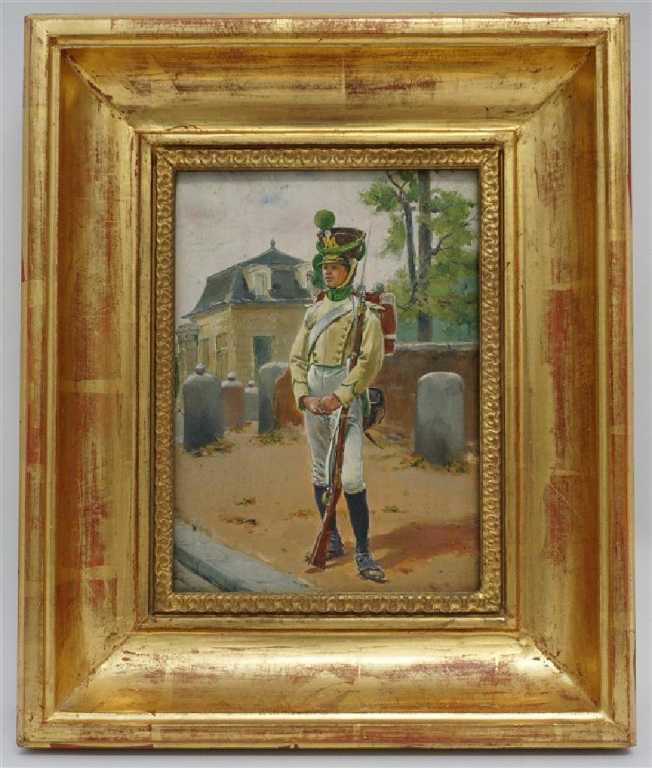 OIL ON BOARD BLACK SOLDIER AT GATEHOUSE