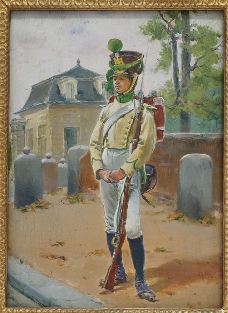 OIL ON BOARD BLACK SOLDIER AT GATEHOUSE - 2