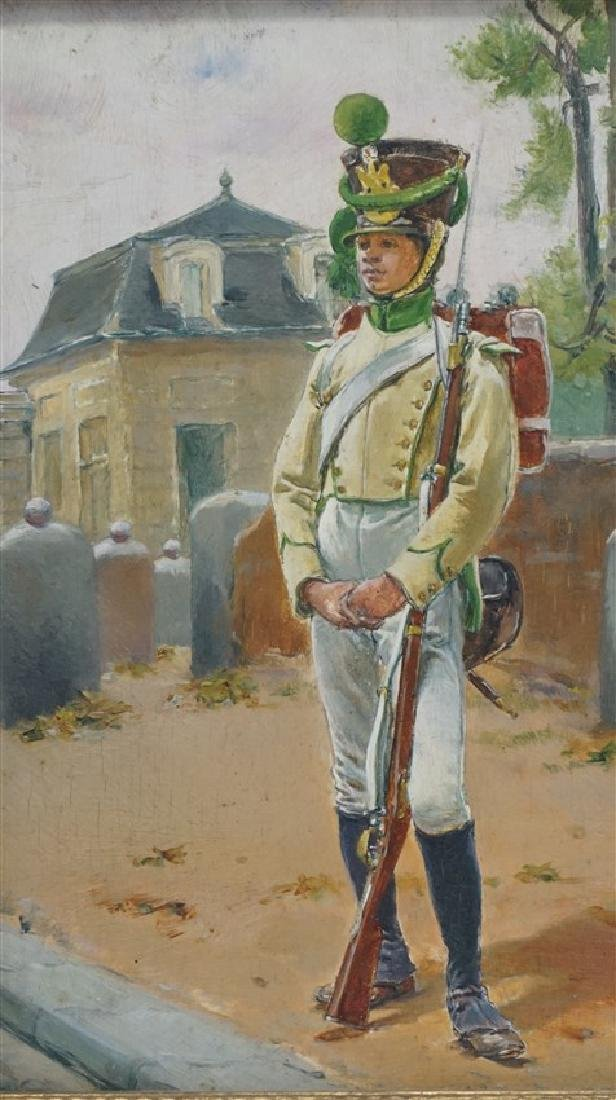 OIL ON BOARD BLACK SOLDIER AT GATEHOUSE - 3