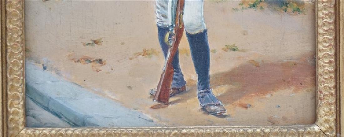 OIL ON BOARD BLACK SOLDIER AT GATEHOUSE - 4