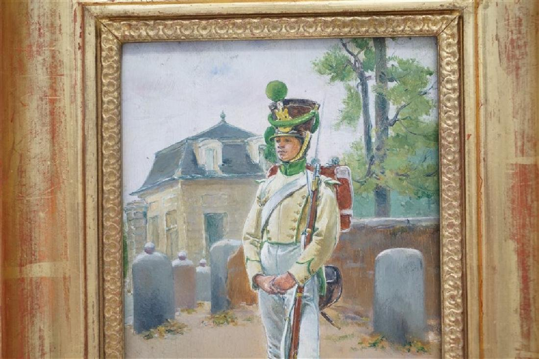 OIL ON BOARD BLACK SOLDIER AT GATEHOUSE - 5