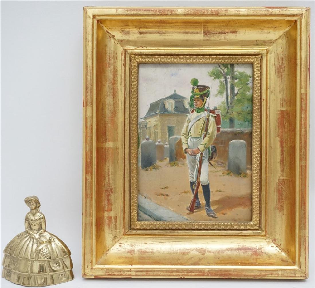 OIL ON BOARD BLACK SOLDIER AT GATEHOUSE - 6