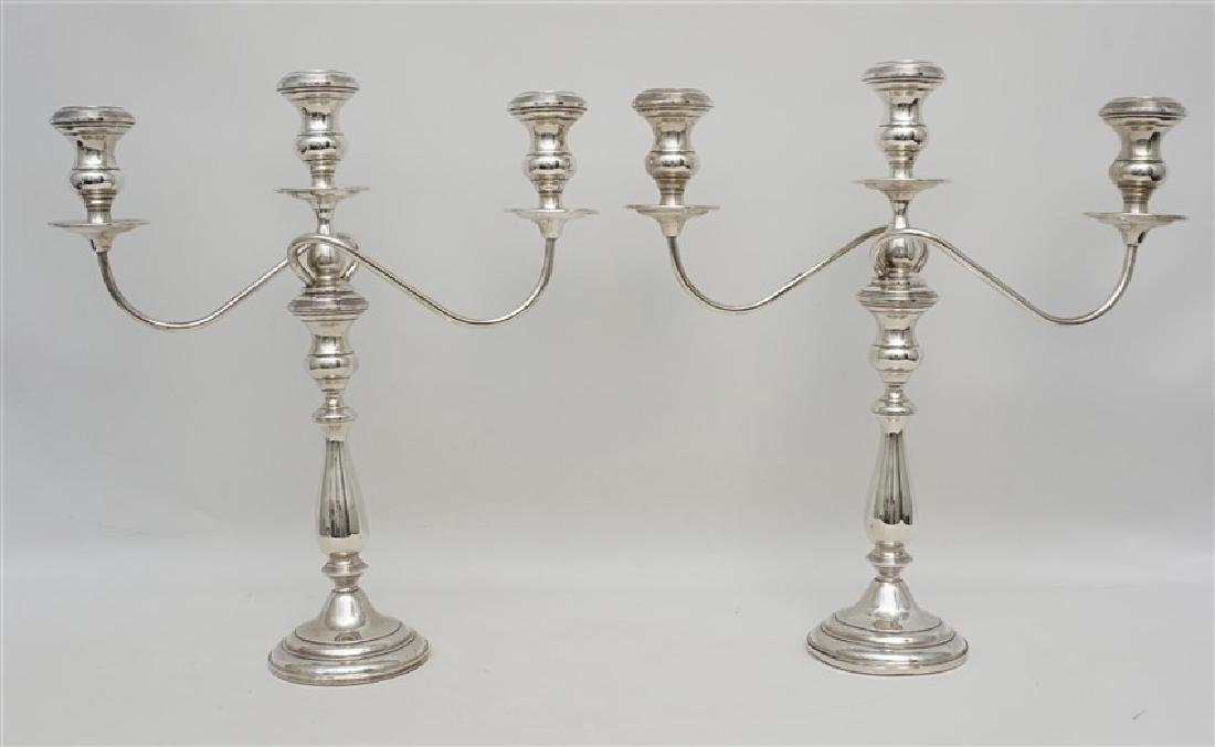 LARGE PAIR STERLING SILVER CANDELABRA