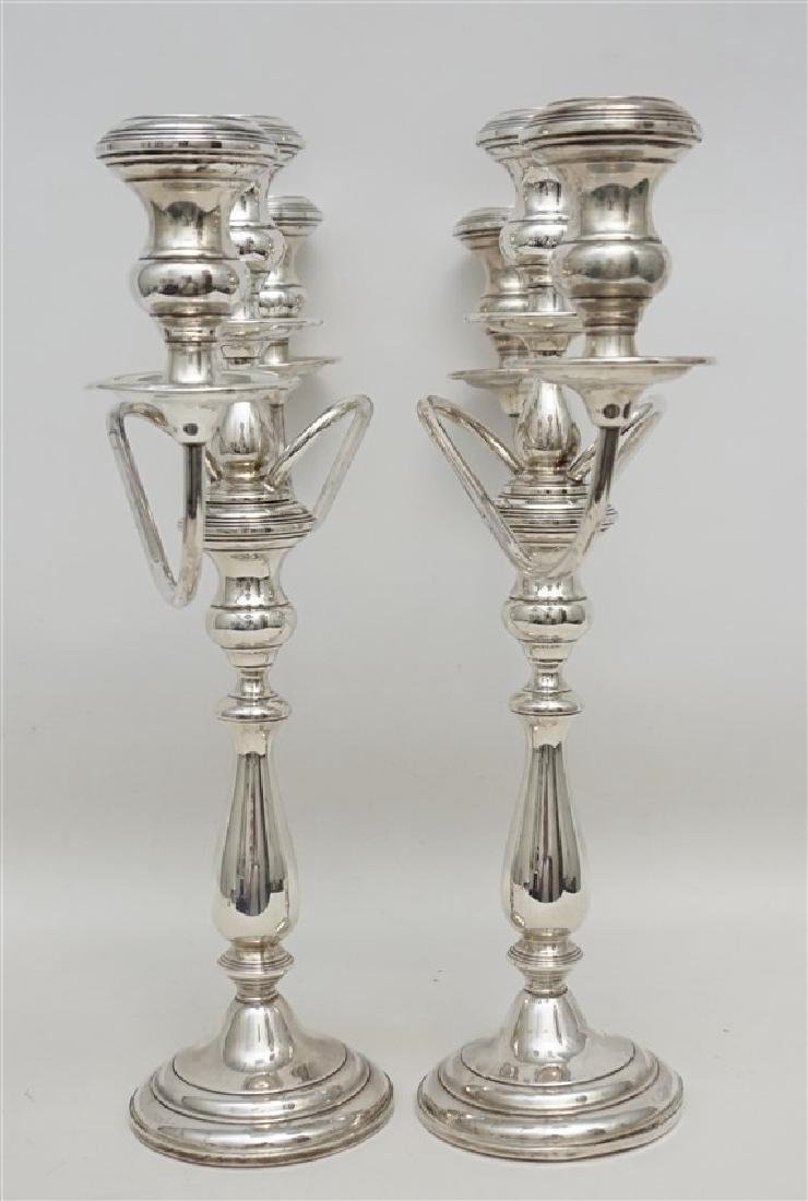 LARGE PAIR STERLING SILVER CANDELABRA - 5