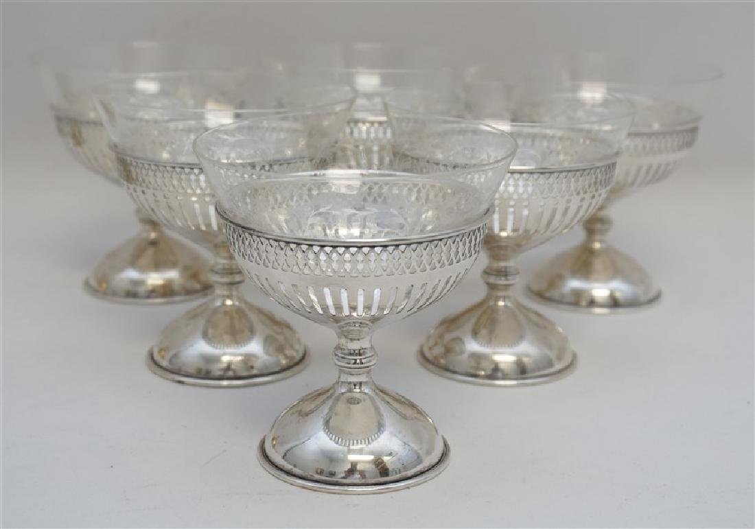 6 CALDWELL STERLING ETCHED CRYSTAL DESSERTS