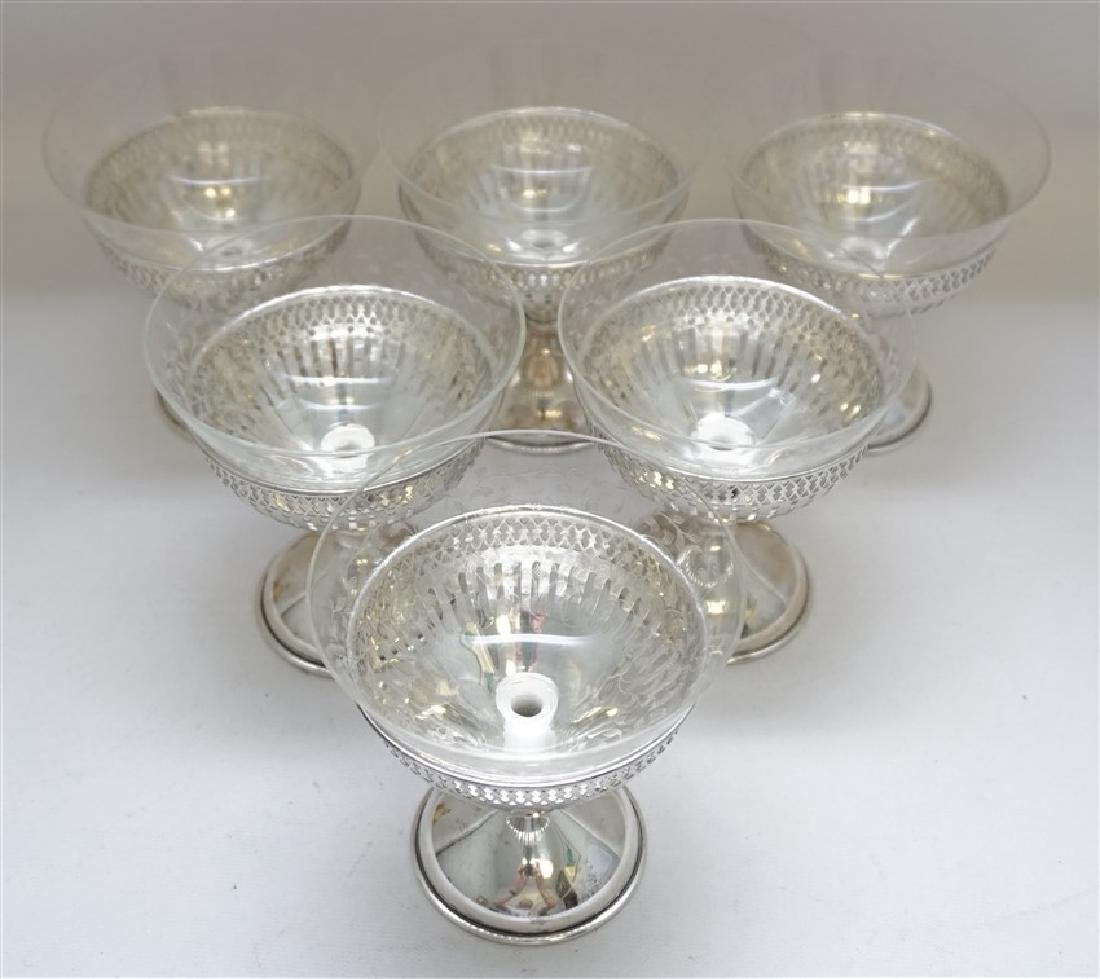 6 CALDWELL STERLING ETCHED CRYSTAL DESSERTS - 3