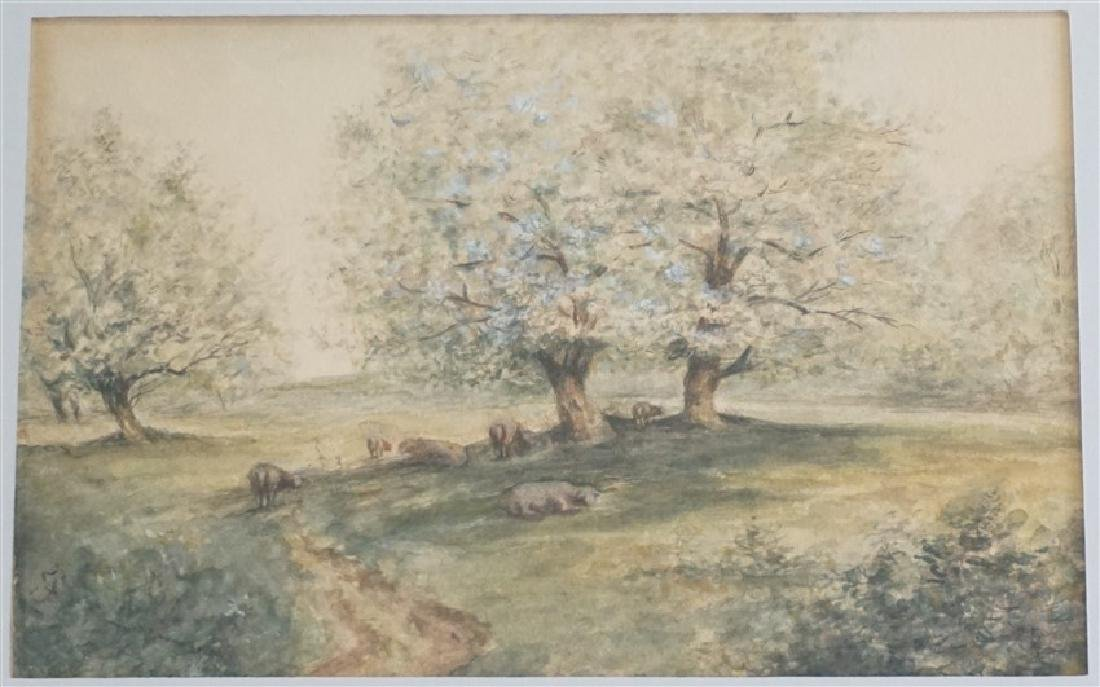 ORIGINAL WATERCOLOR SHEEP IN ORCHARD - 2