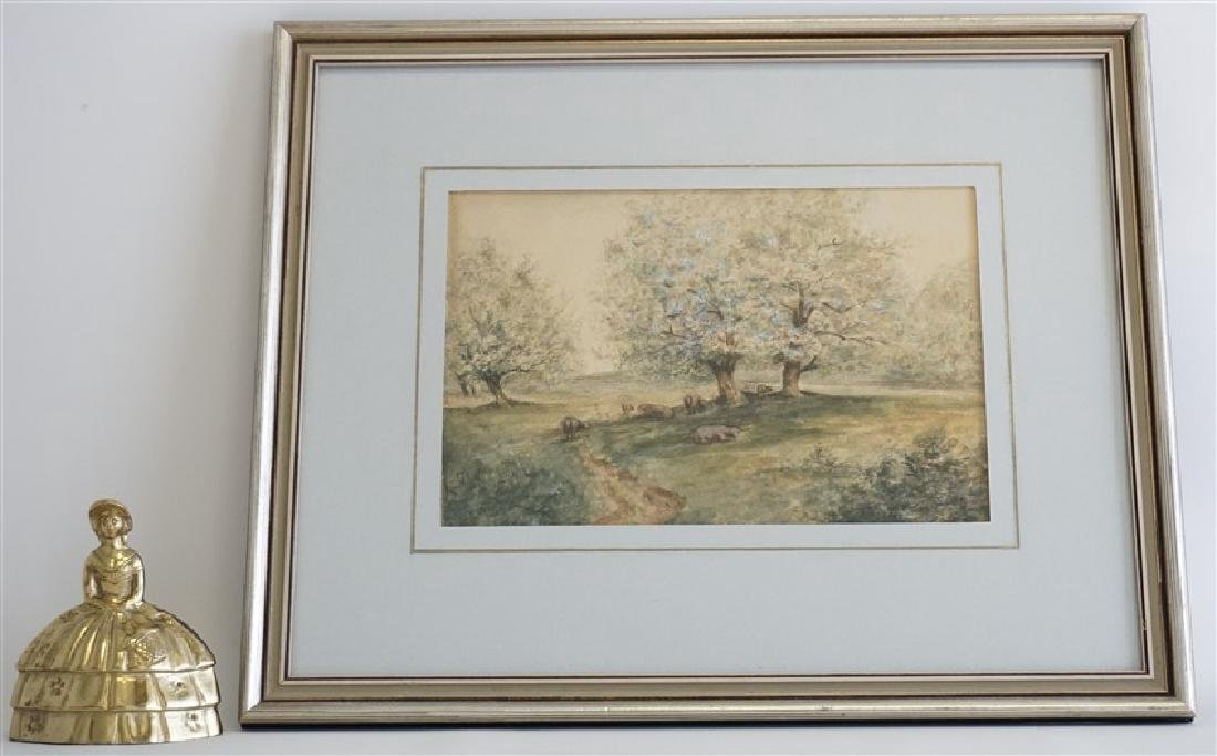ORIGINAL WATERCOLOR SHEEP IN ORCHARD - 5