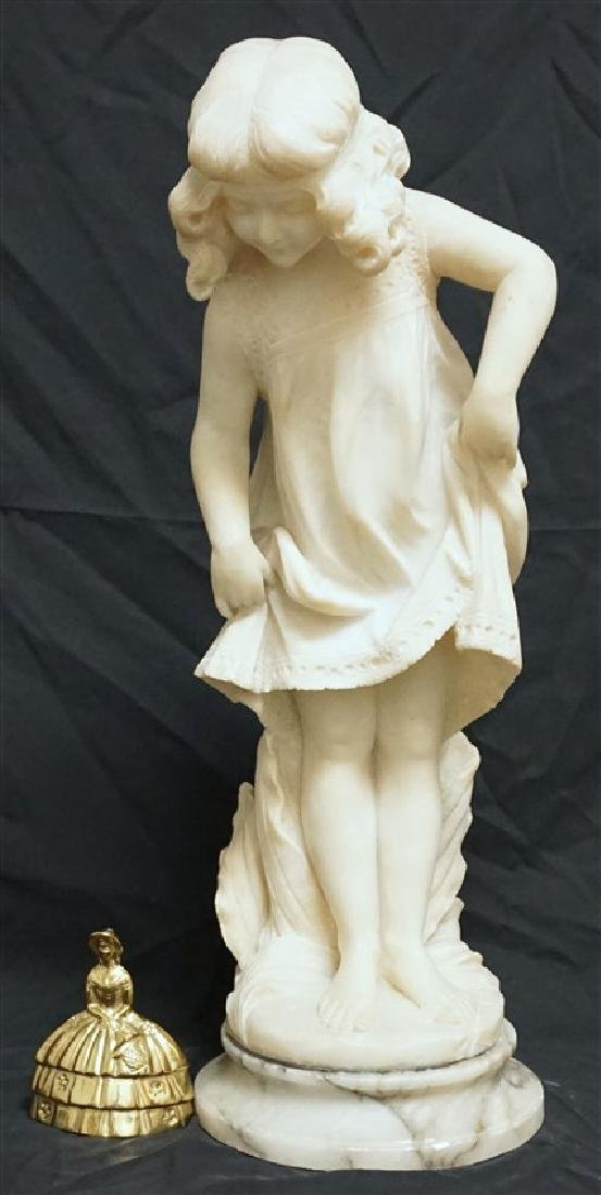 19th CENTURY ALABASTER SCULPTURE YOUNG GIRL - 11