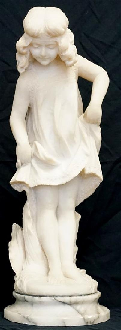 19th CENTURY ALABASTER SCULPTURE YOUNG GIRL