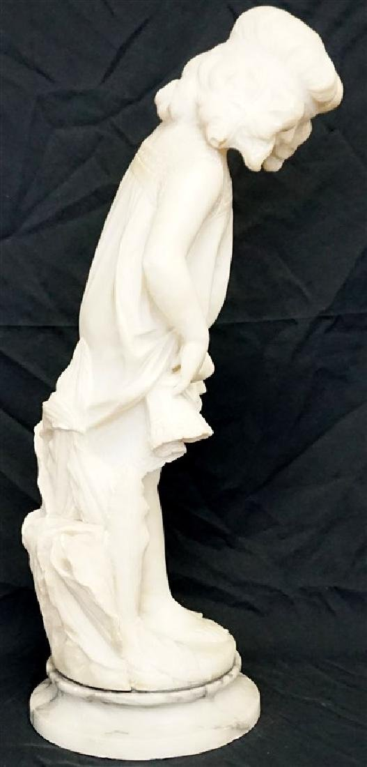 19th CENTURY ALABASTER SCULPTURE YOUNG GIRL - 4