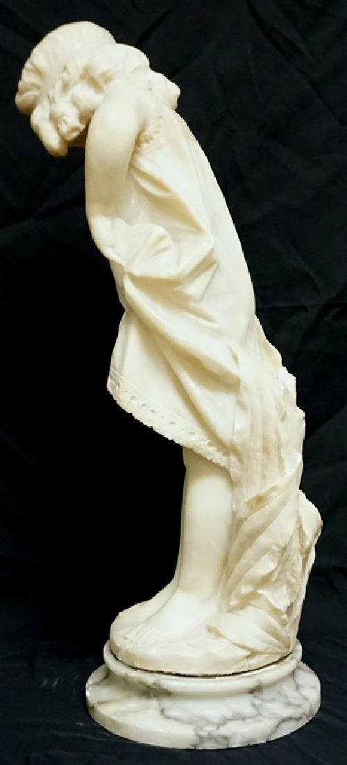 19th CENTURY ALABASTER SCULPTURE YOUNG GIRL - 8