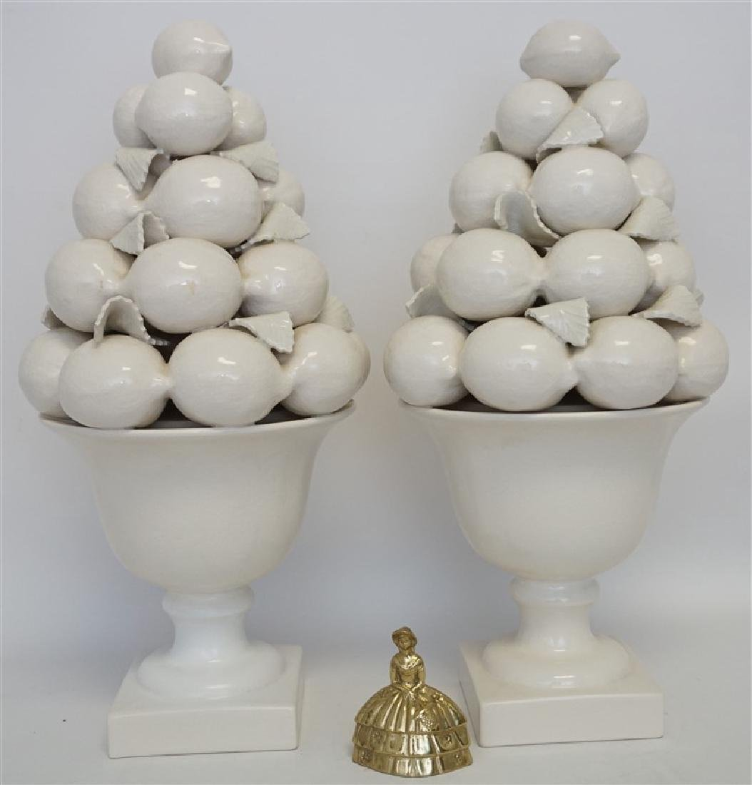 PAIR TALL MAJOLICA LEMON CENTERPIECES - 11