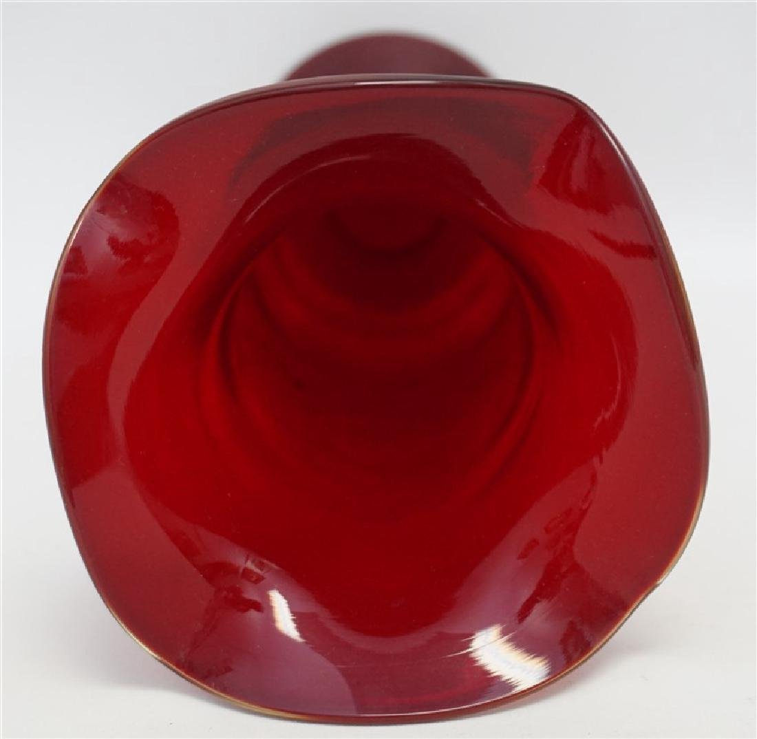 VINTAGE TALL AMERICAN BLOWN RUBY GLASS VASE - 4