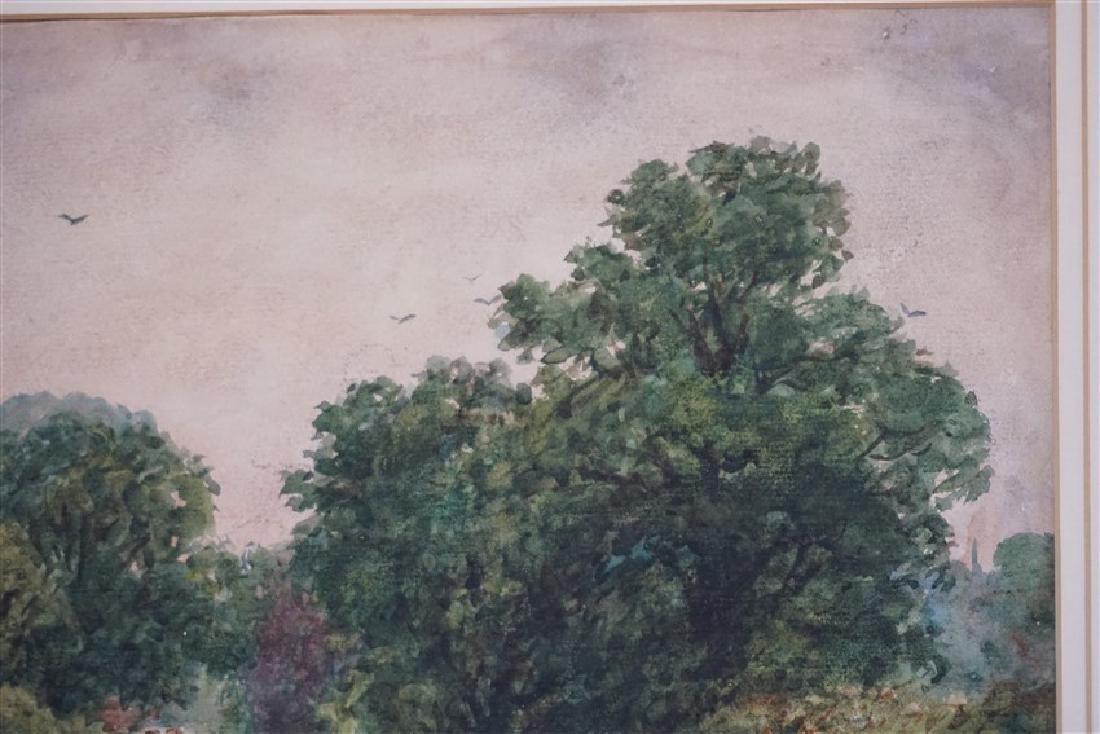 19th c. HENRY BATES WATERCOLOR LANDSCAPE - 4