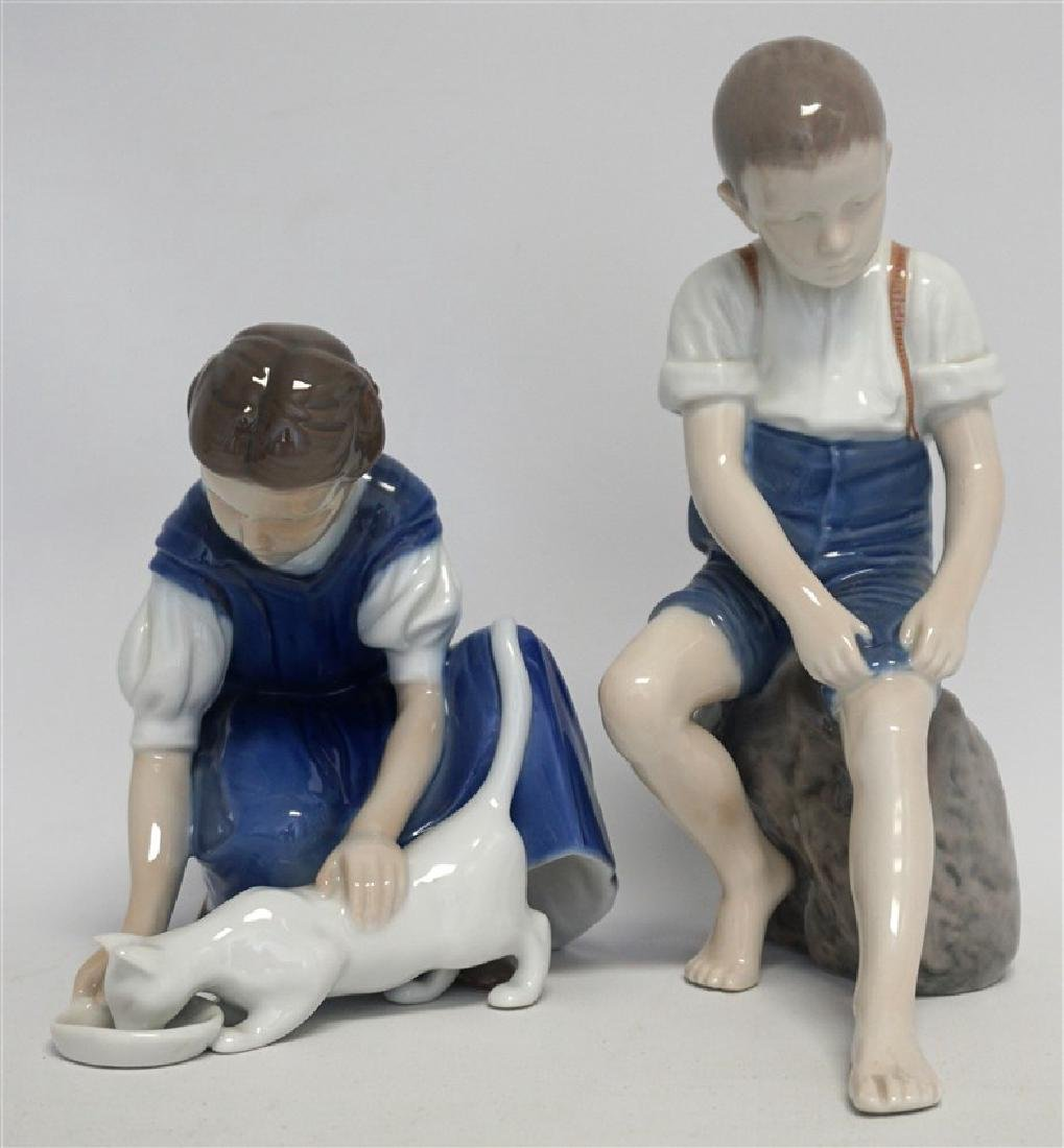 2 PC BING & GRONDAHL GIRL w CAT & BOY ON ROCK