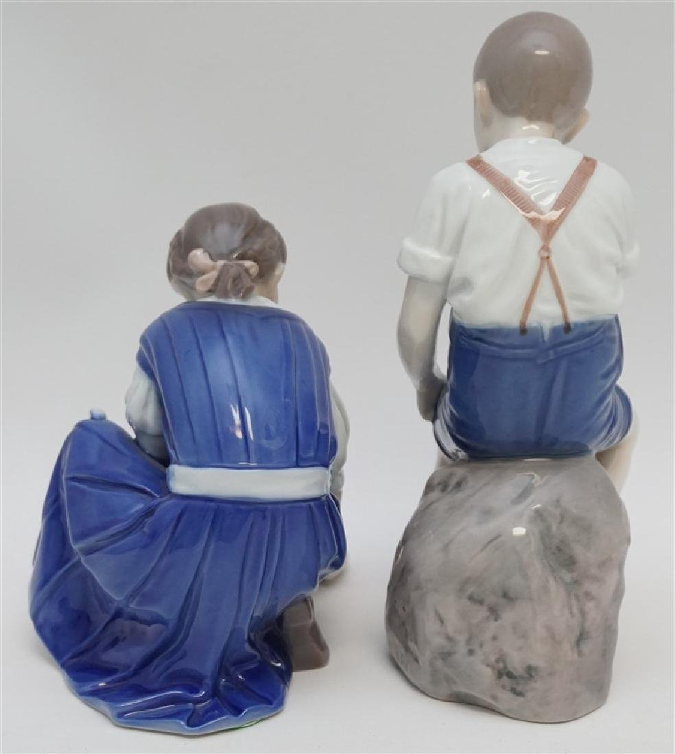 2 PC BING & GRONDAHL GIRL w CAT & BOY ON ROCK - 6