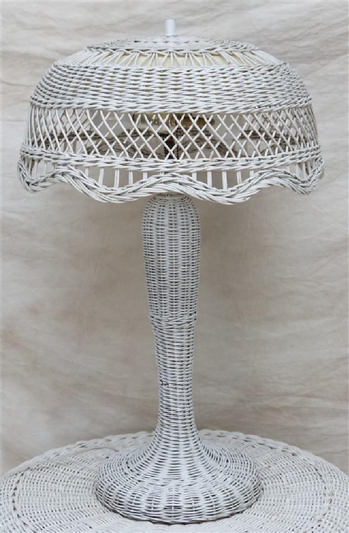 3 PC 1920s WICKER TABLE, PLANTER & LAMP - 7