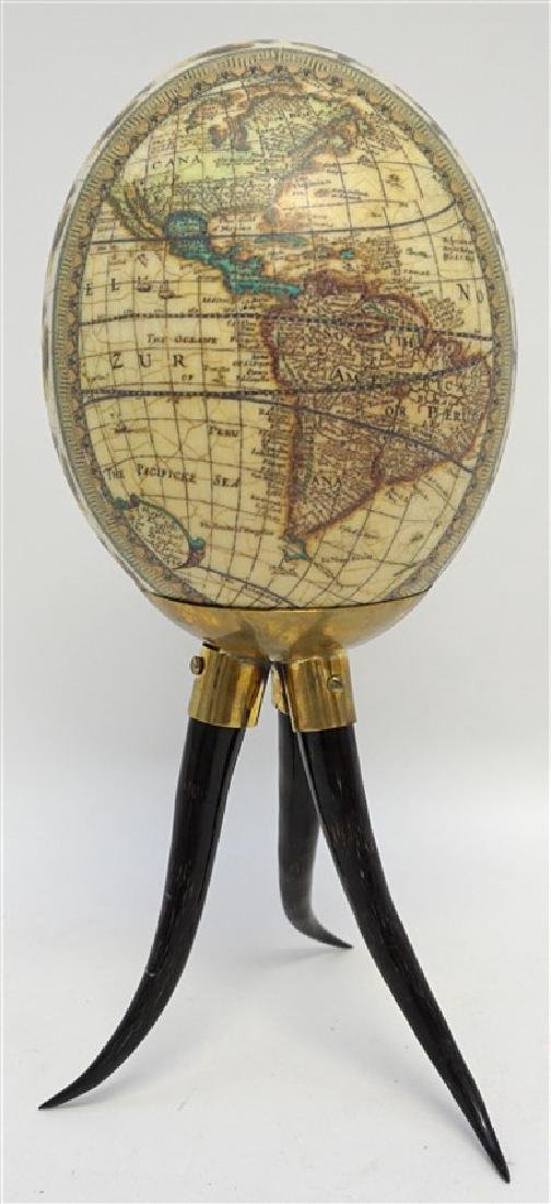 DECOUPAGE WORLD MAP EGG ON HORN STAND