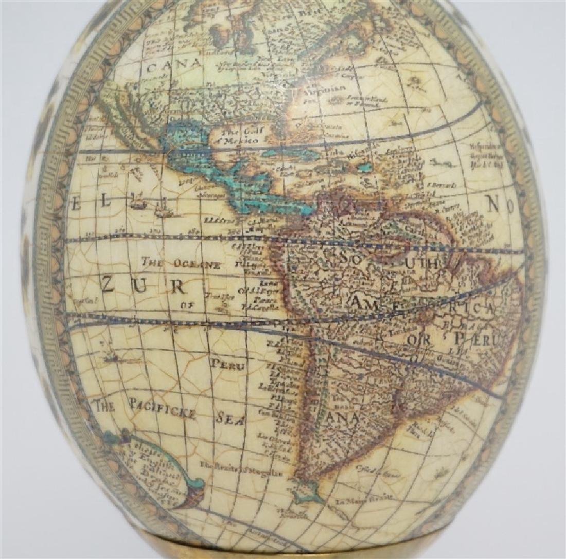 DECOUPAGE WORLD MAP EGG ON HORN STAND - 2